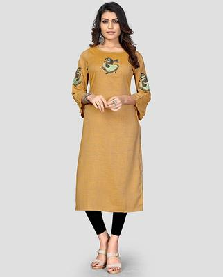 Yellow embroidered rayon party-wear-kurtis