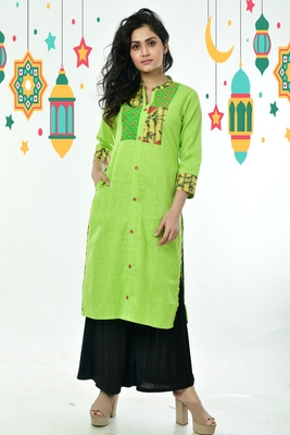 Neon Green Kantha Embroidered Cotton Kurti