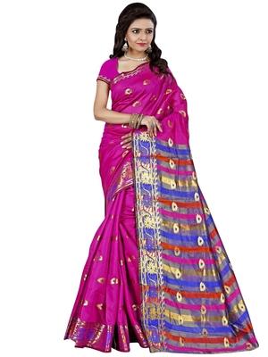 Magenta woven cotton silk saree with blouse