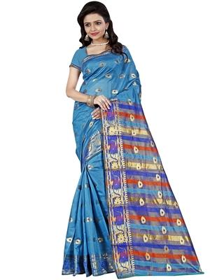 Sky blue woven cotton silk saree with blouse