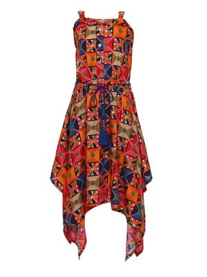 orange silk blend dress