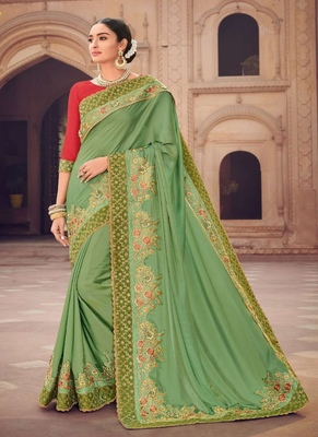 light green embroidered silk saree with blouse
