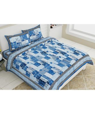 PURE COTTON MULTICOLOUR  DOUBLE BED BEDSHEET WITH PILLOW COVER
