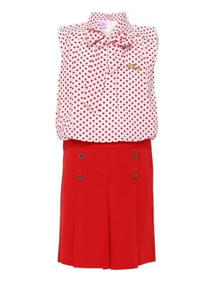 tie front polka dotted skirt top set