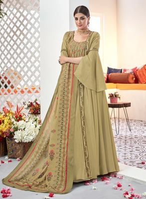 Mehendi embroidered satin salwar