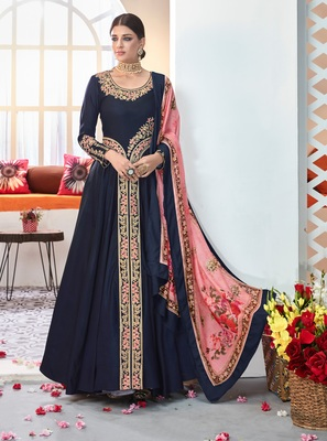 Navy-blue embroidered satin salwar