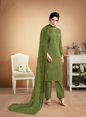 Pear embroidered silk salwar
