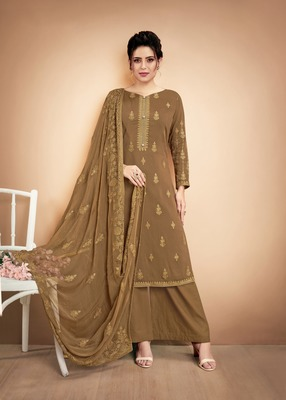Coffee embroidered silk salwar