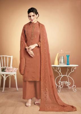 Orange embroidered silk salwar