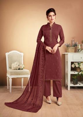 Scarlet embroidered silk salwar