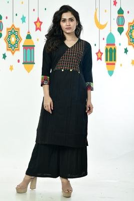 Black Kantha Embroidered Cotton Kurti