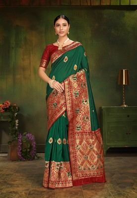 Green woven silk saree with blouse