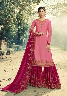 Pink embroidered satin salwar