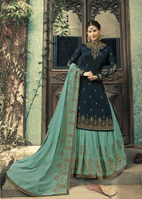 Dark-teal embroidered satin salwar