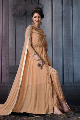 Salmon embroidered georgette salwar