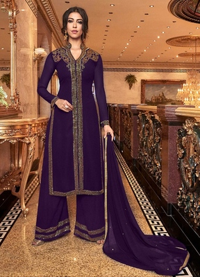Purple embroidered georgette salwar