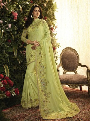 Light parrot green embroidered silk saree with blouse