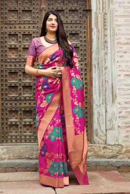 Rani pink woven banarasi silk saree with blouse