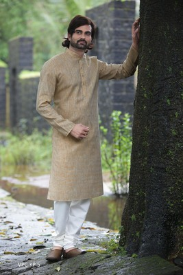 Fawn plain poly cotton men-kurtas