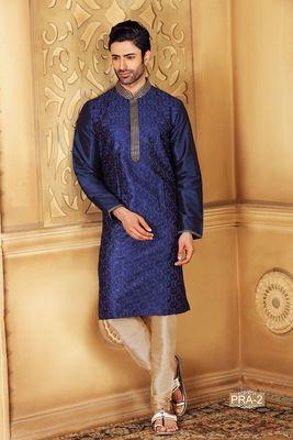 Blue embroidered jacquard men-kurtas