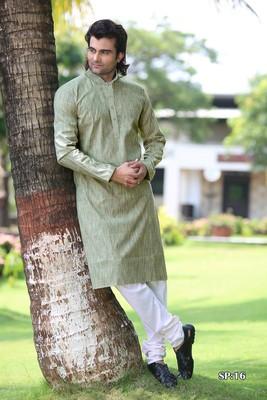 Turquoise plain poly cotton men-kurtas