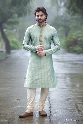 Turquoise embroidered dupion silk men-kurtas