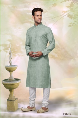 Turquoise plain cotton men-kurtas