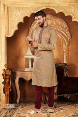 Fawn embroidered jacquard men-kurtas