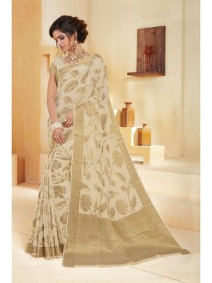 Cream woven Chiffon saree with blouse