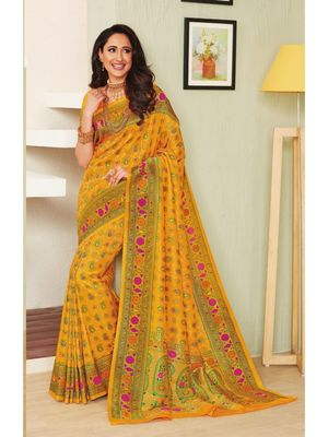 Yellow hand woven silk blend saree with blouse