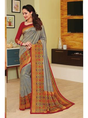 Grey hand woven silk blend saree with blouse