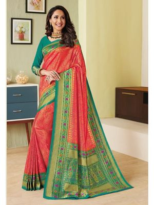 Red Hand Woven Silk Blend Saree With Blouse