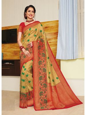Gold hand woven silk blend saree with blouse