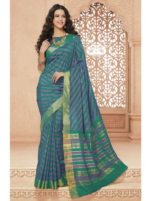Green hand woven art silk saree with blouse