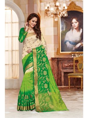 Green hand woven art silk saree with blouse