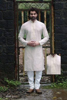 Beige printed dupion silk men-kurtas