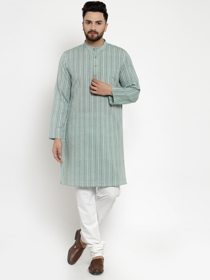Green Woven Cotton Men Kurtas
