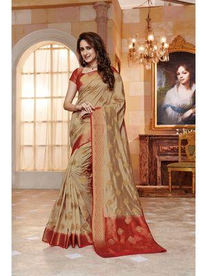 Beige hand woven art silk saree with blouse