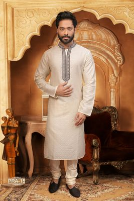 Beige embroidered jacquard men-kurtas