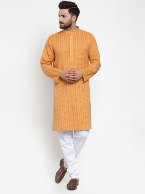 Yellow Woven Cotton Men Kurtas