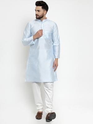 Blue plain dupion silk men-kurtas