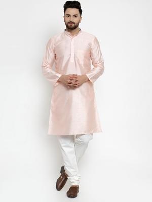 Pink plain dupion silk men-kurtas