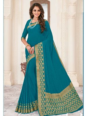 Turquoise woven Chiffon saree with blouse