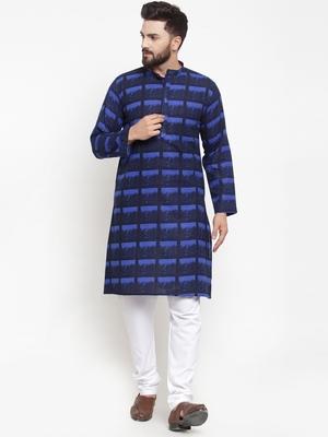 Blue printed cotton men-kurtas