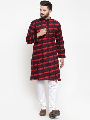 Red printed cotton men-kurtas