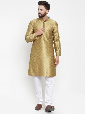 Yellow plain brocade silk men-kurtas