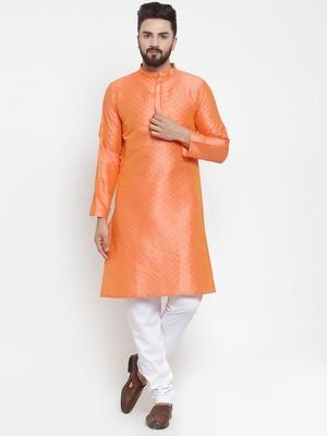 Orange plain brocade silk men-kurtas