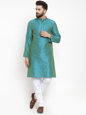 Blue plain brocade silk men-kurtas