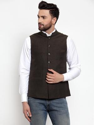 Green plain cotton nehru-jacket
