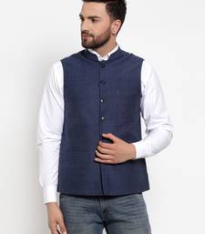 Blue Plain Cotton Nehru Jacket